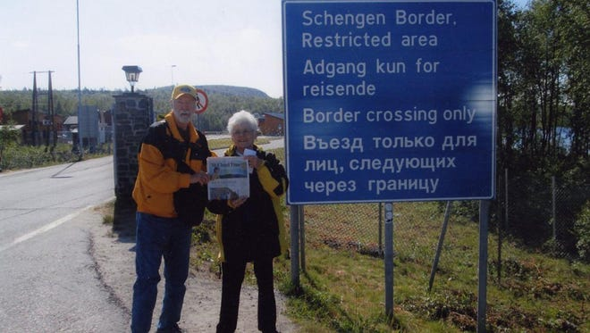 Bruce and Jo Carlson of Avon took a 12-day cruise in July from Bergen, Norway, to the Arctic Circle and the Nordkapp, at 71 degrees north latitude. But they didn't stop there. Their voyage continued to Kirkenes, in the extreme northeast of Norway, and the Russian border before returning to Bergen.