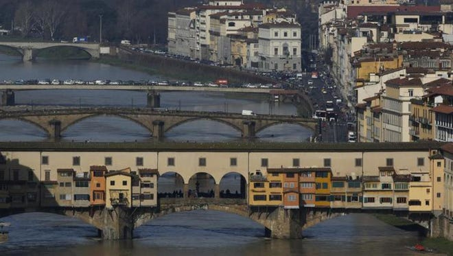 A view of Ponte Vecchio (Old Bridge) in Florence, Italy.