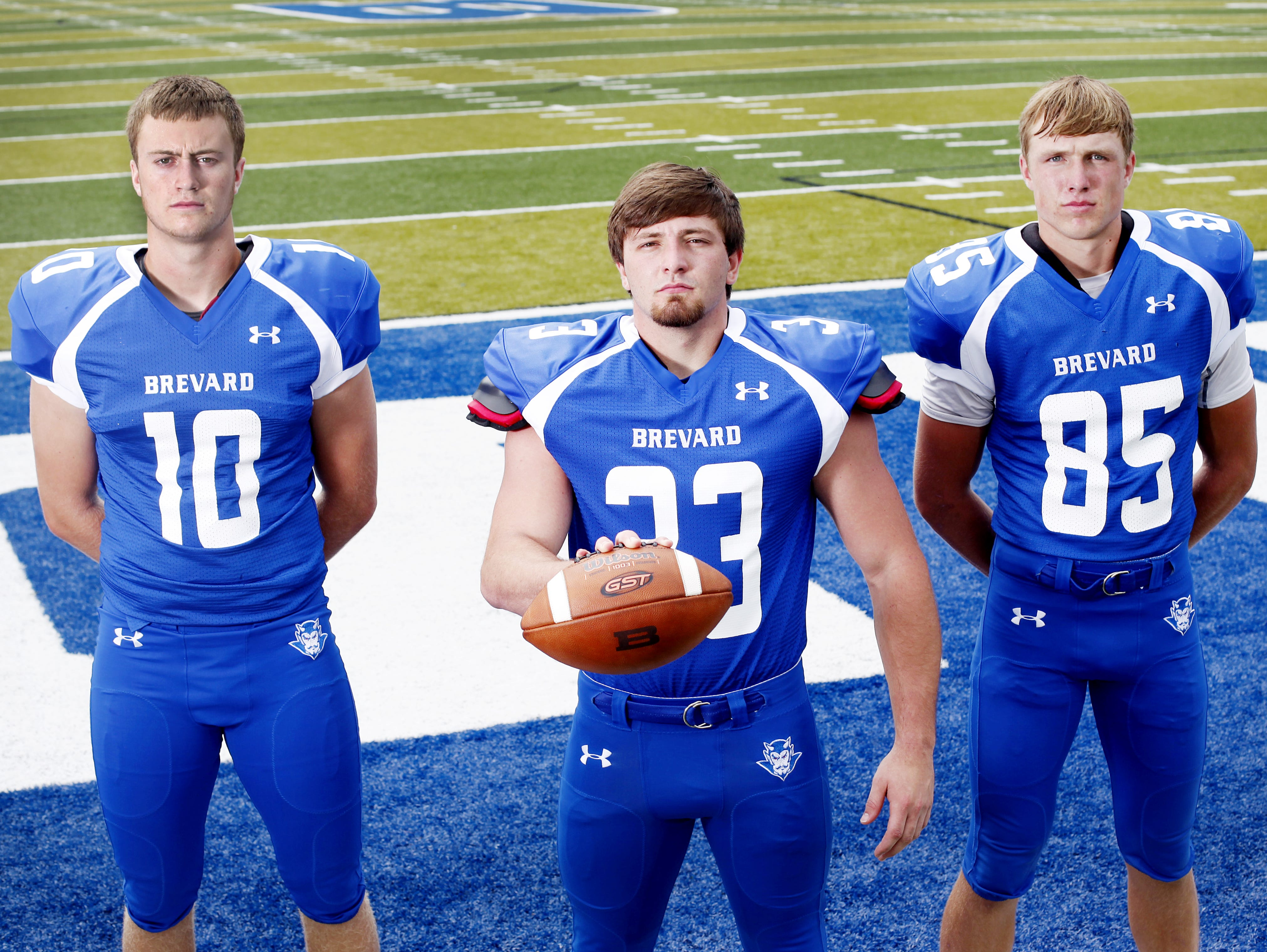 Brevard football players, from left to right, Tanner Ellenberger, Tanner Pettit and Nick Cabe.