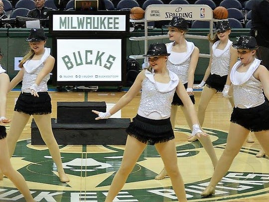 In Motion Studio dancers from Plymouth perform at a Bucks game on Feb. 26.