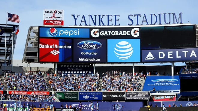 May 29, 2016; New York, NY, USA; General view of action between New York City FC and Orlando City during the first half at Yankee Stadium. Mandatory Credit: Brad Penner-USA TODAY Sports