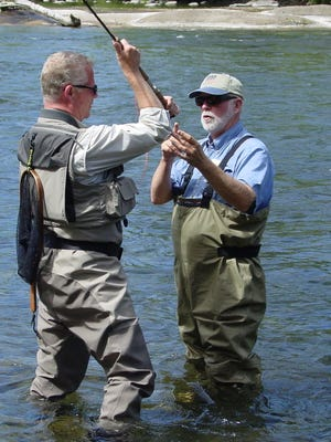Dwight Klemin, a Fly Fishers International-certified casting instructor, also gives lessons in Spey casting on the Willamette River in Salem for the Santiam Flycasters.