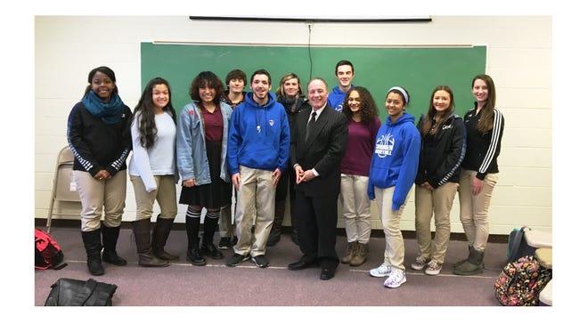 Vineland Mayor Ruben Bermudez visits Cumberland Christian School to meet with high school class officers.