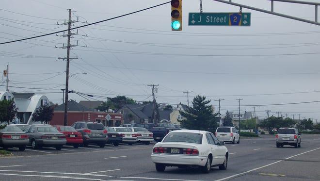 SEASIDE PARK: An overhead street sign identifies J Street in the borough.