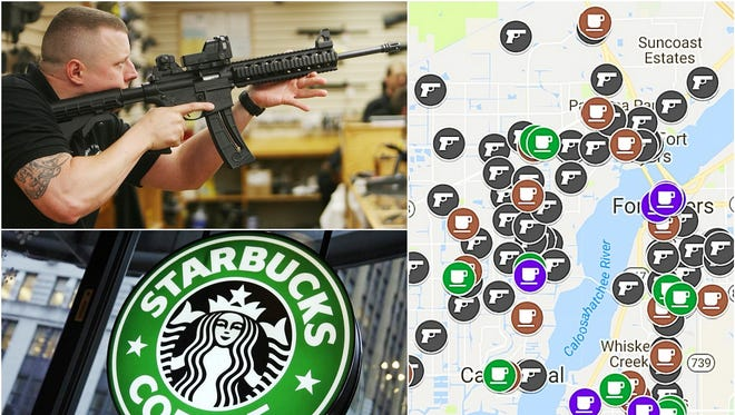 According to the Bureau of Alcohol, Tobacco, Firearms and Explosives, there are 127 gun sellers/dealers in Lee County, Florida. Google Maps and store locators list 70 coffee shops in the county.
