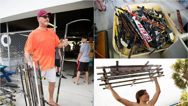 """Broken hockey sticks are used to build oyster beds in the """"Rink 2 Reef"""" program at the Florida Gulf Coast University Vester Marine and Environmental Science Research Field Station in Bonita Springs. The program focuses on oyster reef restoration."""