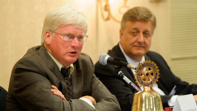 Republican Glenn Grothman and Democrat Mark Harris during a private debate at Noon Rotary in Fond du Lac.