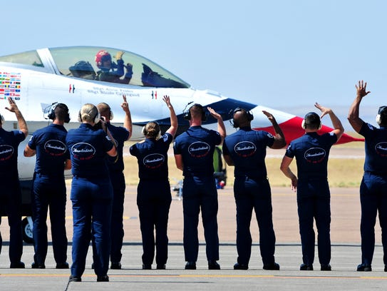 The ground crew and pilots of the U.S. Air Force Thunderbirds