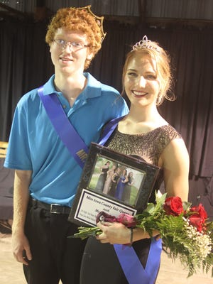 Austin Roberts (left) is Mr. Iowa County while Megan Lukas is the new Iowa County Fair queen. Both were crowned Wednesday, July 13, at the Iowa County Fair in Marengo.