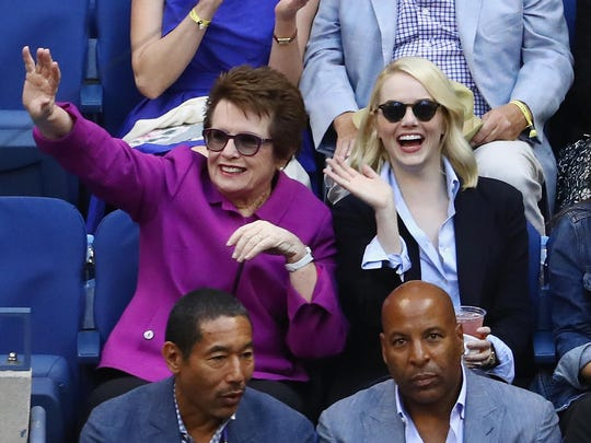 Billie Jean King, left, and actress Emma Stone, who