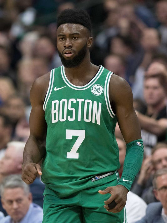 a47dd26d2 NBA  Boston Celtics at Dallas Mavericks. Boston Celtics guard Jaylen Brown ( 7) ...
