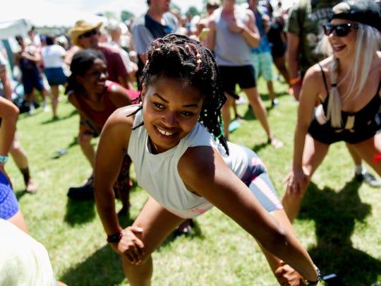 A fest-goer attends a twerk dancing lesson at Bonnaroo