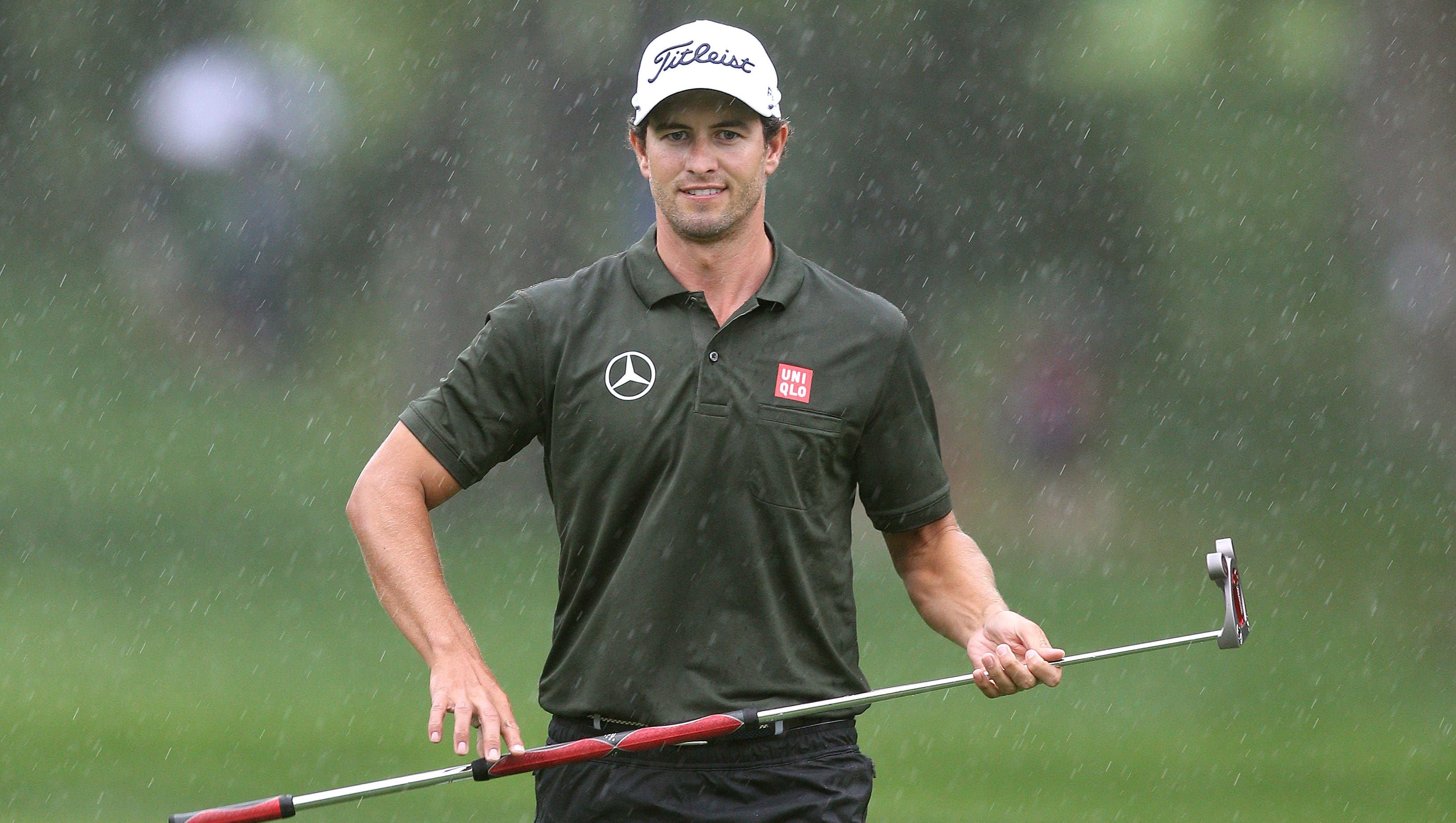 Adam Scott reacts to his putt on 17 during the second round of the PGA Championship at Oak Hill CC.