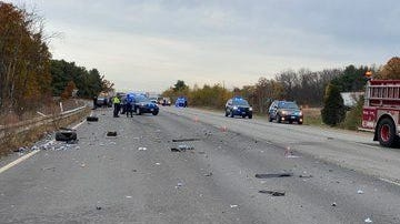 Debris remained in the southbaound lane of Interstate 495 Friday morning as Massachusetts State Police investigated a four-vehicle crash.