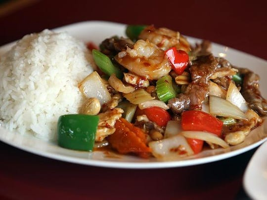 Kung Pao shrimp, chicken, and beef combo from China Gourmet, at 1405 Broadway St. NE.