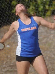 Cordelia Wild of Westlake competes in the girls discus at the Ventura County Track and Field Championships on Friday at Moorpark High.