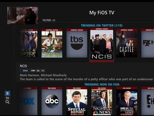 Verizon Fios cable TV service selections.