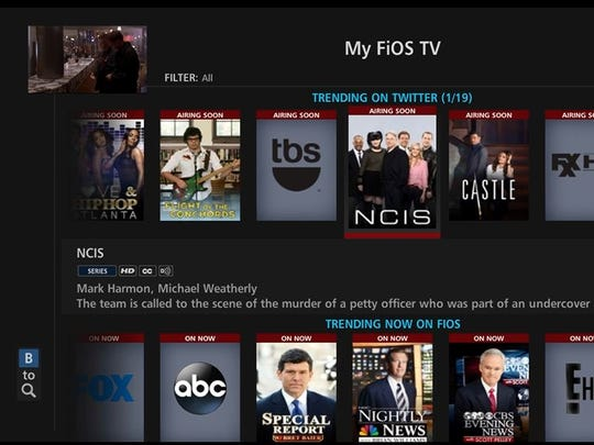 Verizon Fios cable TV service selections.