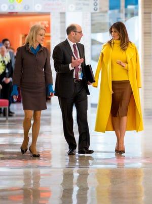 First lady Melania Trump visits Cincinnati Children's Hospital Medical Center while President Trump speaks at a Blue Ash manufacturer Monday, February 5, 2018.