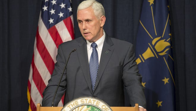Indiana Gov. Mike Pence spoke at a news conference after signing the Religious Freedom Restoration Act in a private Statehouse ceremony Thursday, March 26, 2015.