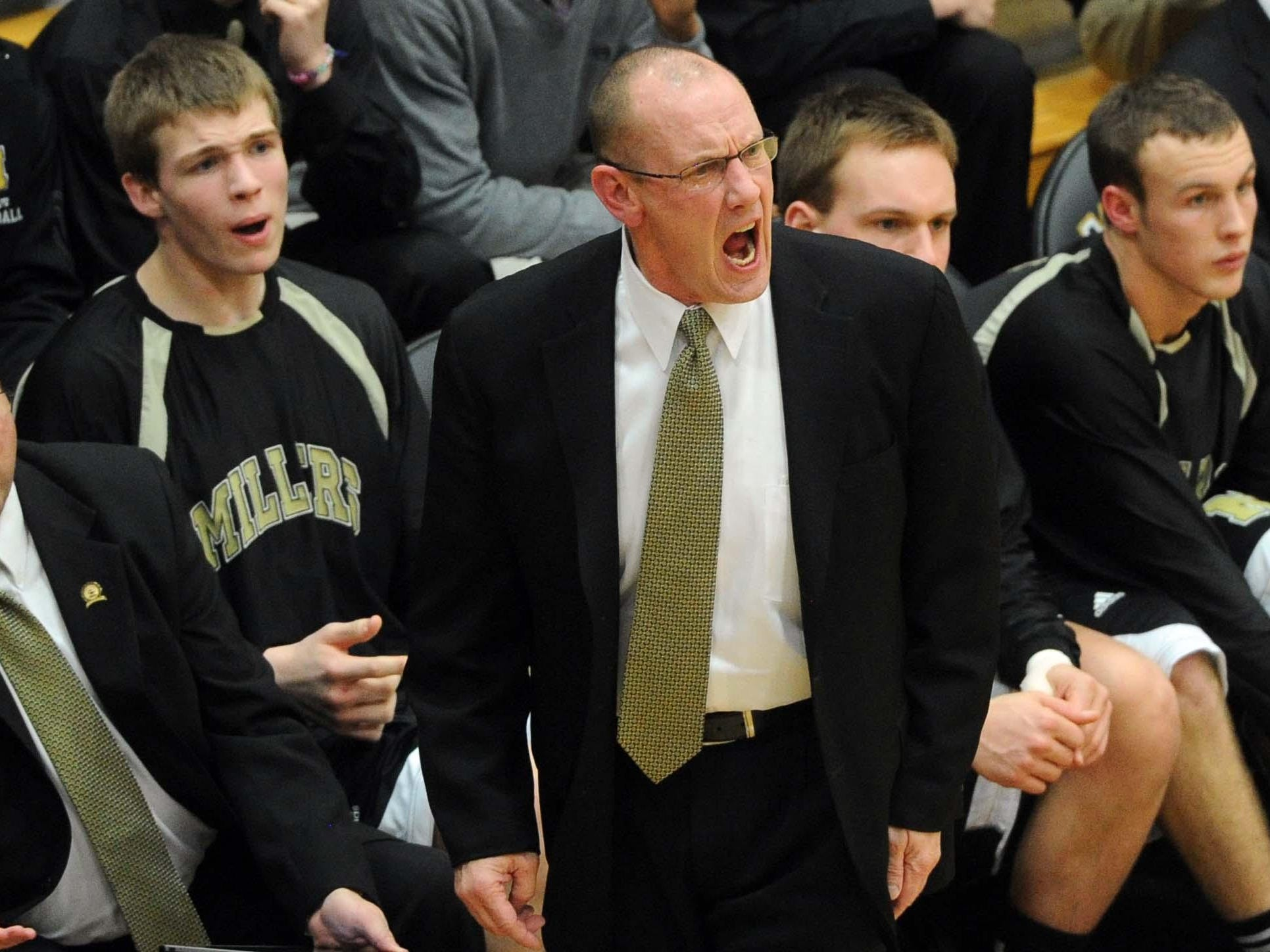 Noblesville coach Dave McCollough expresses himself during the game. Hamilton Southeastern defeated Noblesville 73-65 in the Noblesville sectional Friday March 2, 2012. Rob Goebel/The Star.