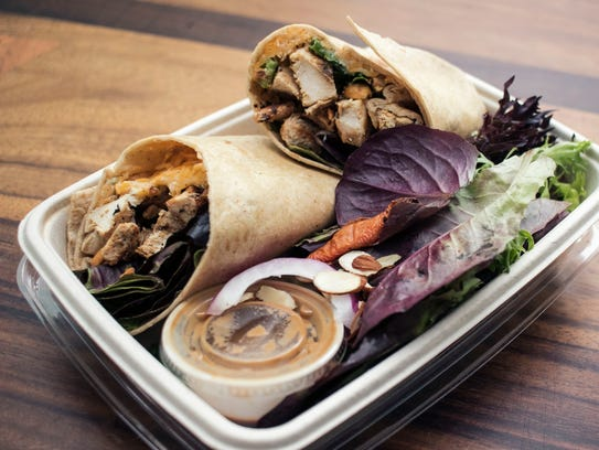 The Thai Peanut Chicken Wrap from Beef Cake Fuel in