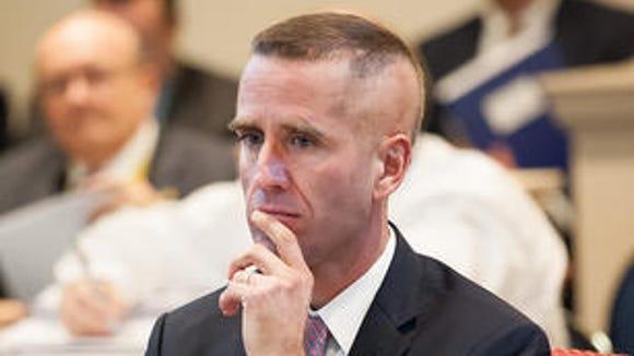 Beau Biden at a February budget hearing at Legislative Hall.