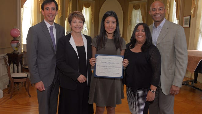Gianella Solorzano of New Rochelle was given the second Mariano and Clara Rivera Scholarship at the College of New Rochelle on Sept. 25, 2015.