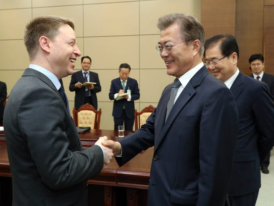 South Korean President Moon Jae-in meets with Matt