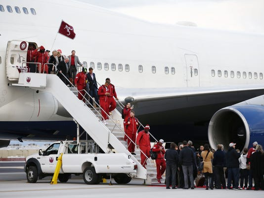 Alabama arrives for the 2016 College Football Playoff National Championship