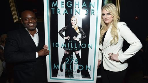 IMAGE DISTRIBUTED FOR EPIC RECORDS - Chairman of Epic Records LA Reid, left, presents Meghan Trainor with her 10 million+ global sales plaque at her Epic Records album release party sponsored by Clinique at Warwick on Tuesday, January 13, 2015, in Hollywood, Calif. (Photo by John Shearer/Invision for Epic Records/AP Images)