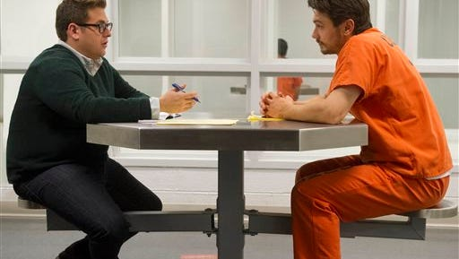 """In this image released by Twentieth Century Fox, Jonah Hill, left, and James Franco appear in a scene from """"True Story."""" (Barry Wetcher/Twentieth Century Fox via AP)"""