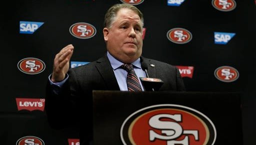 San Francisco 49ers coach Chip Kelly addresses the media during his introductory press conference last month.