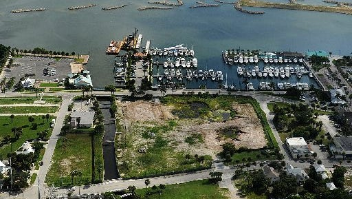 A view of the waterfront in downtown Fort Pierce shows the Fort Pierce City Marina and H.D. King Power Plant property.