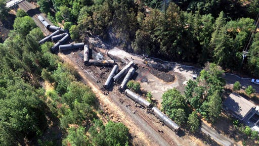 FILE - This June 4, 2016, file aerial photo, provided by the Washington State Department of Ecology, shows scattered and burned oil tank cars after a train derailed and burned near Mosier, Ore. The nation's largest railroad has agreed to more thorough inspections and maintenance improvements after the fiery oil train derailment in Oregon and the discovery of more than 800 potential safety violations across its sprawling network.
