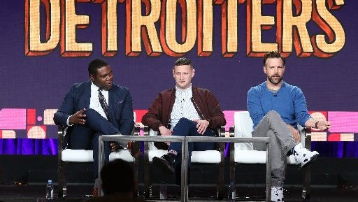 """From left: Sam Richardson, Tim Robinson and Jason Sudeikis at press event for Comedy Central's 'Detroiters."""" It was part of  the 2017 Winter Television Critics Association Press Tour at the Langham Hotel on January 13, 2017 in Pasadena, California"""