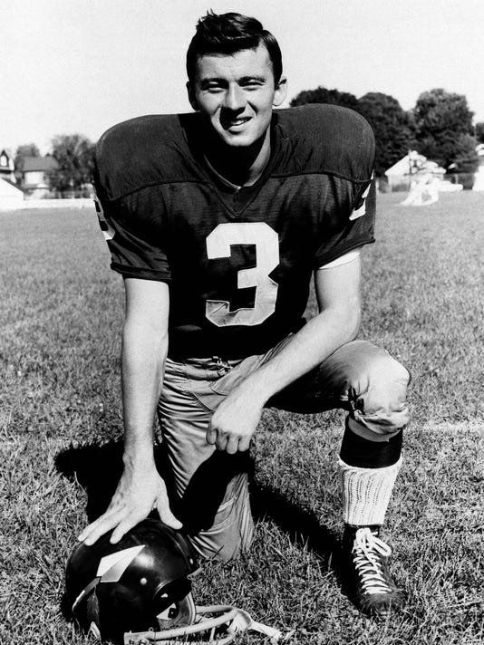FILE - In this 1966 file photo, football player Charlie Gogolak of the Washington Redskins poses for a photo. One of the first soccer style kickers in football, Gogolak was the first kicker selected in the first round when he was taken sixth overall by the Redskins in 1966. That remains the highest a kicker has been selected. (AP Photo, File)