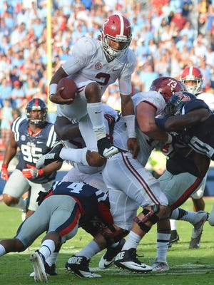 Quarterback Jalen Hurts and Alabama are at the top of the Playoff heap after three weeks, according to the Football Four Projection panel.