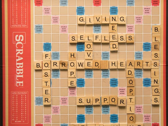 A Scrabble game has become artwork at Borrowed Hearts,
