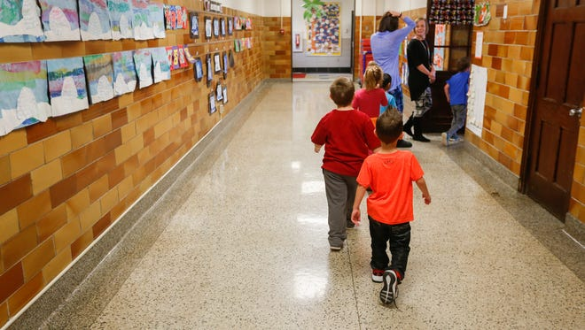 In February, preschool students at Bowerman Elementary walked back to their classroom after indoor recess. There are a smattering of preschool classrooms across the district based on where space is available.