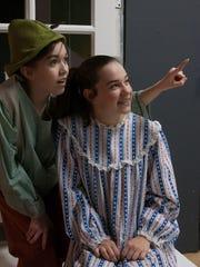"""Ally Hudak and Makaela Cooper rehearse a scene in """"Peter"""