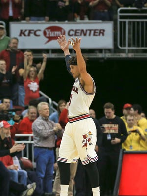 Louisville's Damion Lee had reason to celebrate as he scored 24 points, including 3-for-7 three-point shooting as the Cards gets revenge on Duke 71-64 Saturday afternoon at the KFC Yum! Center. Feb. 20, 2016