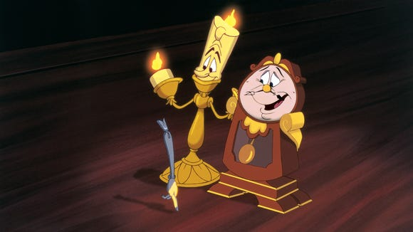 Lumière (left) and Cogsworth are two great characters