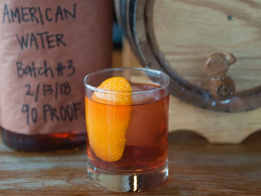 A barrel-aged old fashioned, made in-house, at Keg
