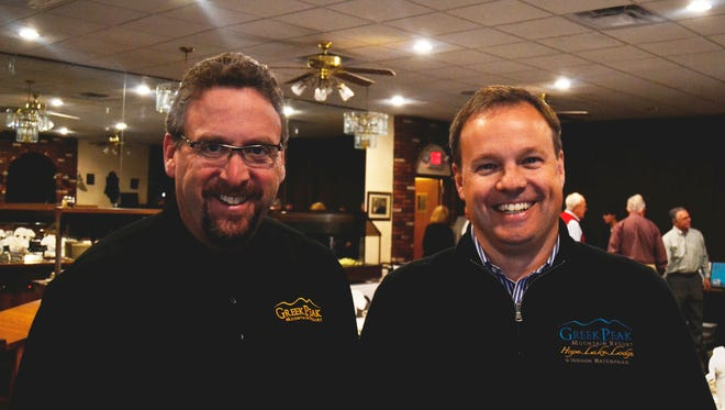 Marc Stemerman, left, and John Meier spoke at the Endwell Rotary Club meeting at Brothers 2 Restaurant on Nov. 11.