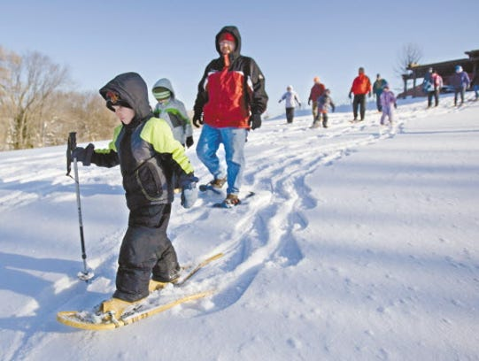 Guests can use snowshoes at Retzer Nature Center on