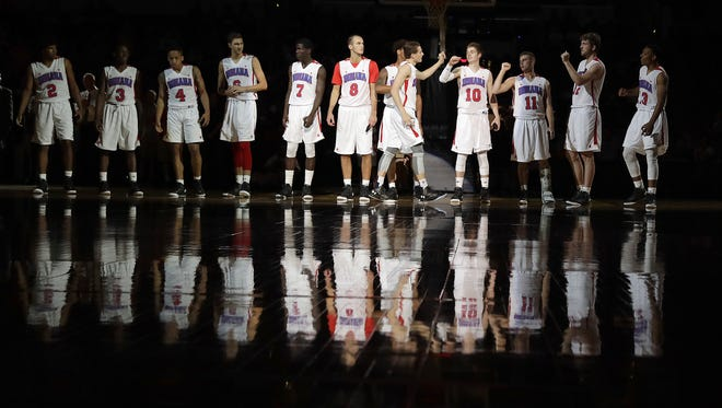 Ball State signee Kyle Mallers (8) is introduced with the Indiana All-Stars on Saturday, June 11, 2016, evening at Bankers Life Fieldhouse.