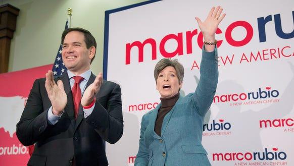 Sen. Marco Rubio campaigns with Sen. Joni Ernst at