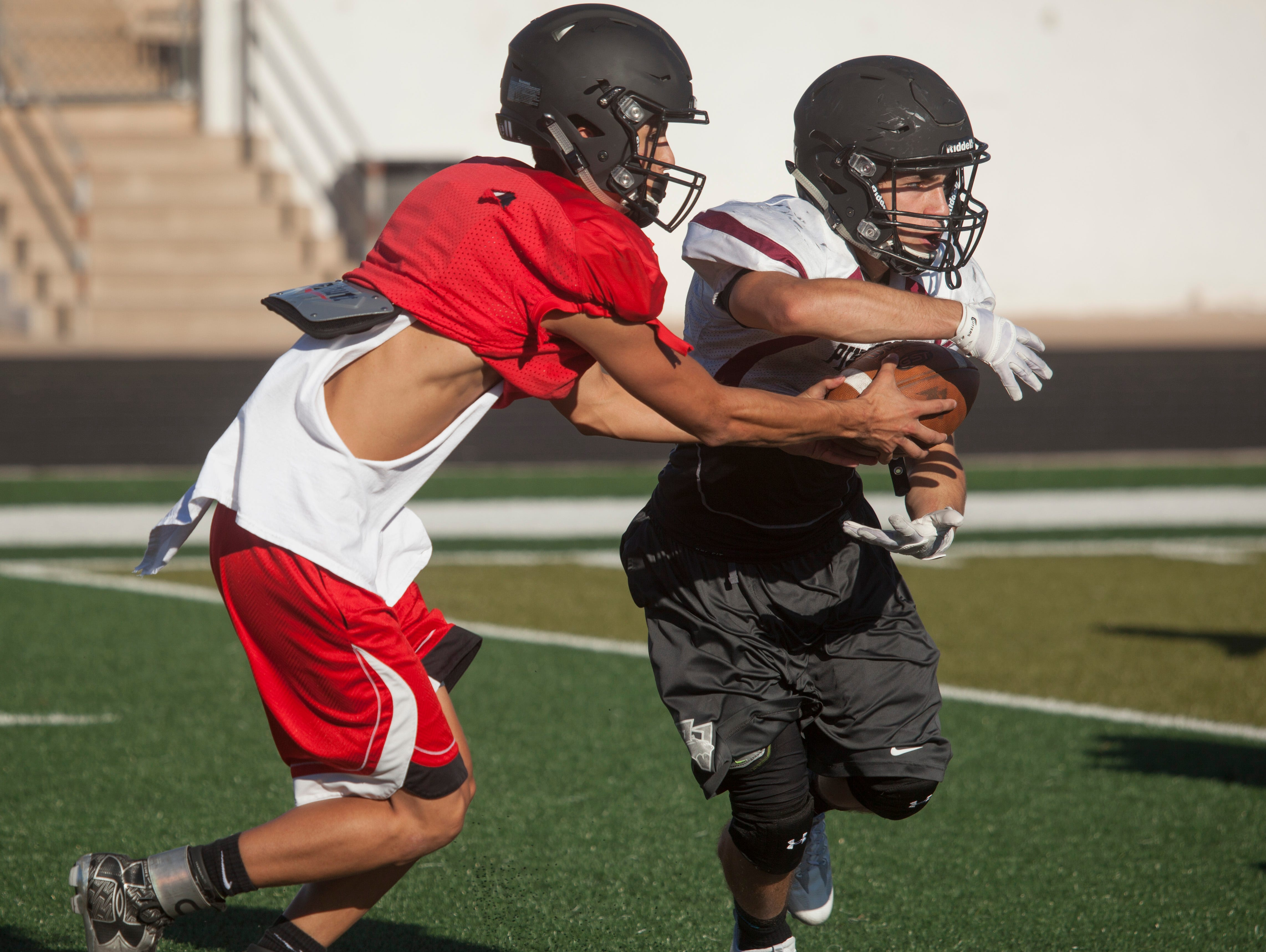 The Pine View High School football team practices for the upcoming season Tuesday, August 16, 2016.