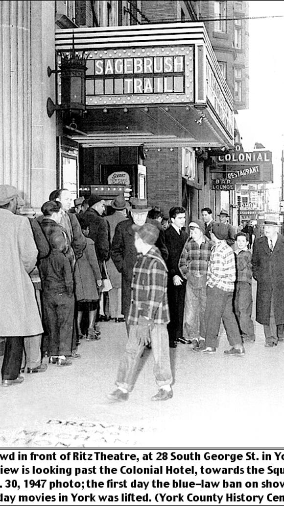 Crowd in front of Ritz Theatre, at 28 South George Street in York, PA; view is looking past the Colonial Hotel, towards the Square.  November 30, 1947 photo; the first day the blue-law ban on showing Sunday movies in York was lifted. (Photo from Collection of York County History Center)